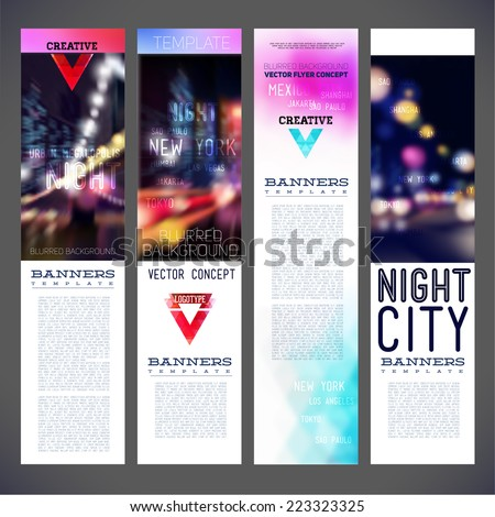 Blur banners night city vector template design, flyer,brochure,element, page, leaflet, with  logo and text separately for you. - stock vector