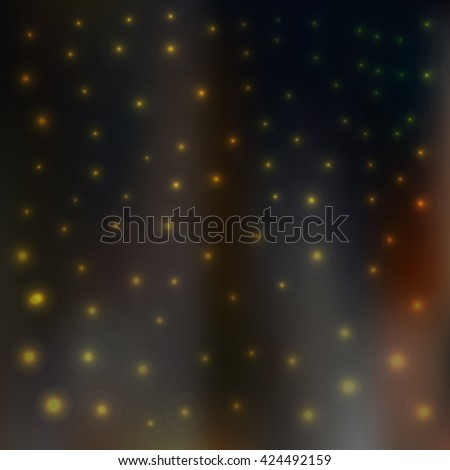Blur dark background. Night sky, city in the background and glow - stock vector