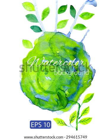 Blur, green watercolor backdrop with decorative leafs - stock vector
