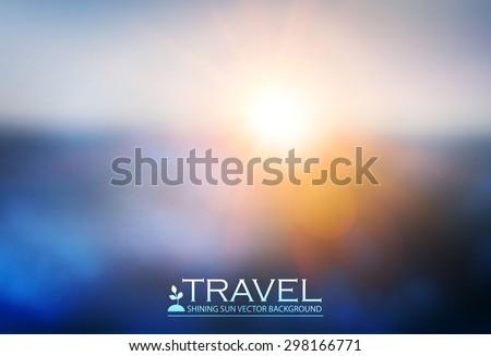 Blur landscape & shining sun background. Abstract clowd design. Flying. Vector illustration - stock vector