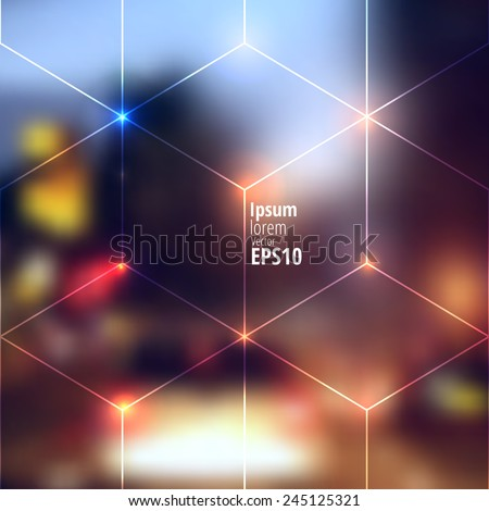 Blur lights city background with lines of cubes. - stock vector