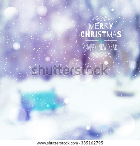 blurred background of winter landscape with bench and snow, merry christmas and happy new year - stock vector