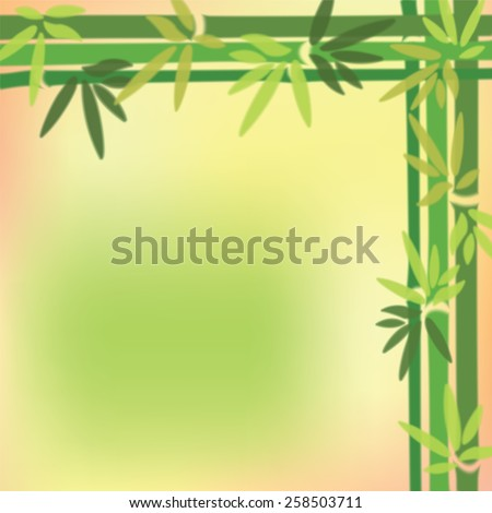 Blurred bamboo trees and leaves at on colorful background. Vector illustration. - stock vector