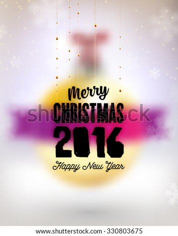 Blurred Christmas Ball. Xmas Decorations. Blur Silver Snowflakes. Holiday Design for New Year Greeting Cards, Posters and Flyers. Vector. 2016 - stock vector