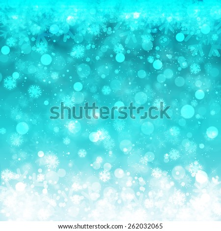 Blurred Christmas Lights for Xmas Holiday Design. Abstract Vector Illustration with Snowflakes - stock vector