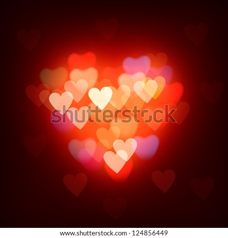 Blurred defocused lights background with hearts