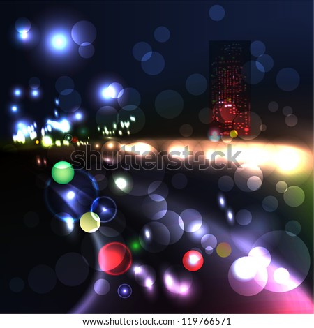 Blurred Defocused Lights of Heavy Traffic on a Wet Rainy - stock vector