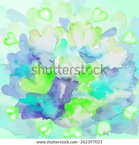 Blurred flowers with hearts. Blue-green watercolor background