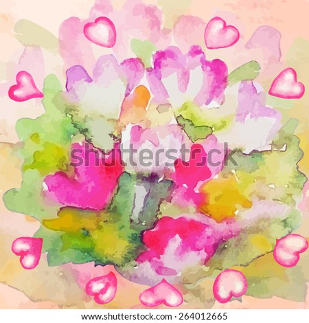 Blurred flowers with hearts. Bright watercolor background