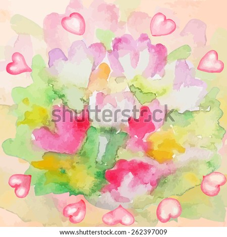 Blurred flowers with hearts. Multicolor watercolor background nr.2