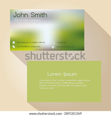 blurred green background simple business card design eps10 - stock vector