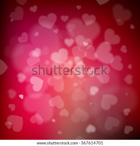Blurred hearts valentine's day background - stock vector
