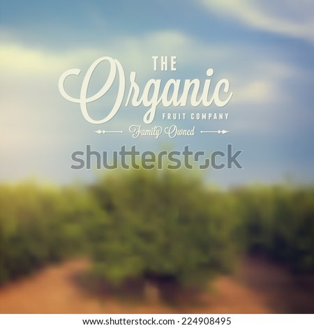 blurred landscape background with fruit trees - stock vector