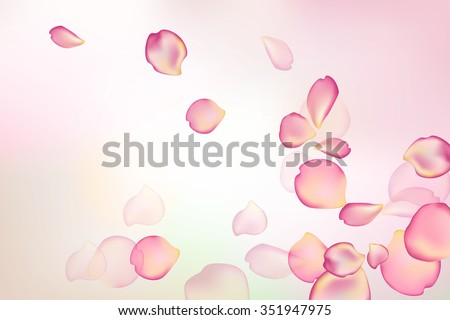 Blurred pastel background with rose flower petals. - stock vector