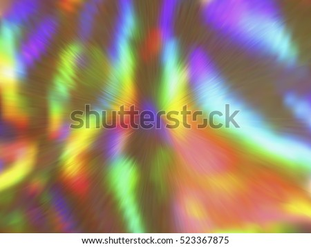 Blurred rays. Defocused iridescent hologram background. Spotted surface. Abstract colorful composition, vector EPS10. Not trace image, include mesh gradient only