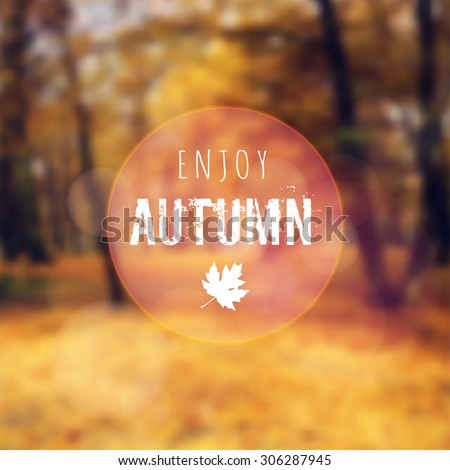 Blurred retro card with autumn, fall forest, vector background - stock vector