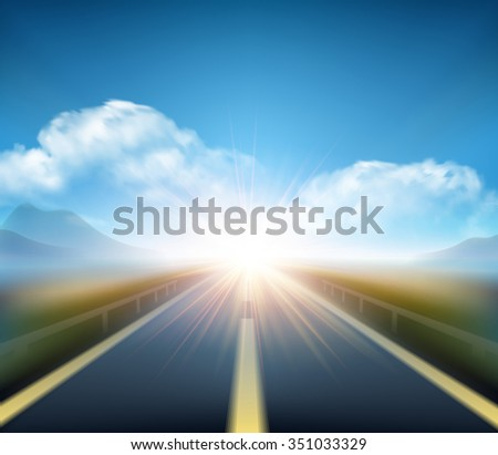 Blurred  road and blue motion blurred sky with clouds. Vector illustration EPS10 - stock vector
