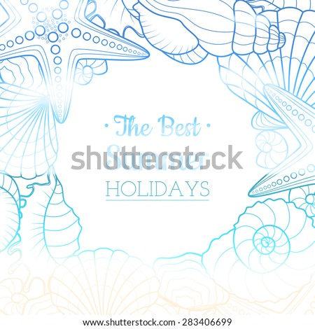 Blurred summer background with seashells and starfishes - stock vector