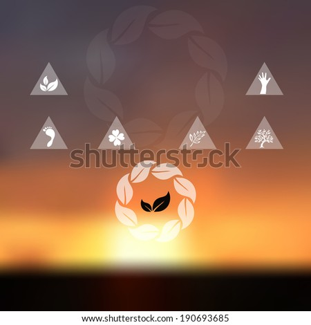 Blurred sunset sky background. Website and mobile template. Nature, ecology, environment, travel or vacation design. Nature protection concept and symbols. - stock vector