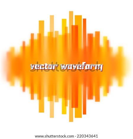 Blurred vector waveform made of transparent orange lines - stock vector