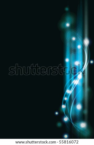 Blurry abstract blue lined light effect background. EPS10 with transparency - stock vector