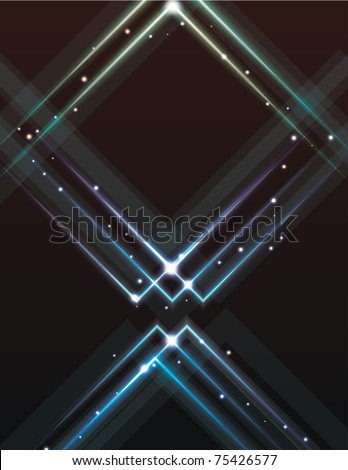 Blurry grunge light effect triangle background - stock vector