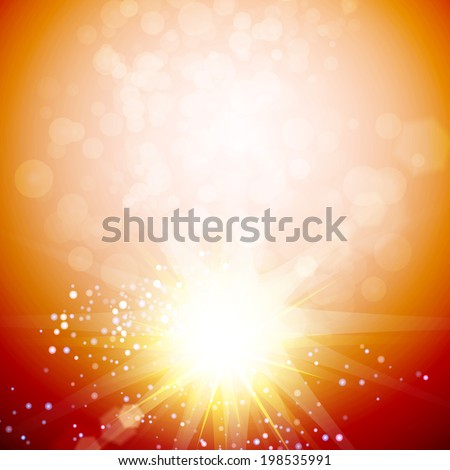 Blurry orange abstract with star burst. Vector illustration. Abstract star&space background with light effects.