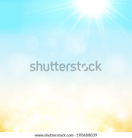Blurry sand and blue sky with summer sun burst. Vector illustration.