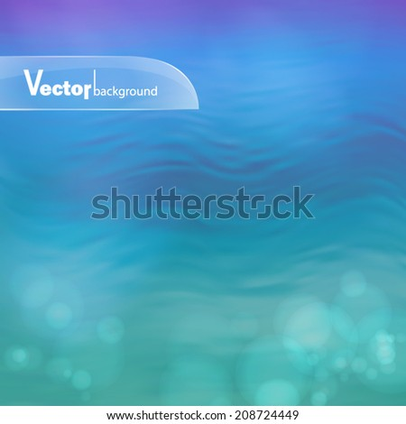 Blurry vector water ripple blue background with abstract smooth lines - stock vector