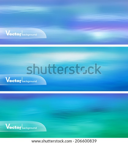 Blurry vector water ripple blue banner with abstract smooth lines. Website header or banner set - stock vector