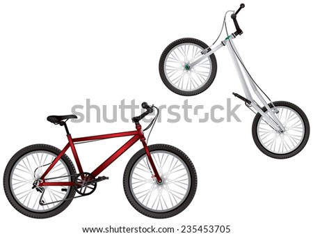 BMX bike and Mountain bike, Extreme Sport Bicycles realistic vector illustration