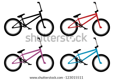bmx bike set in black, red, blue and violet color - stock vector