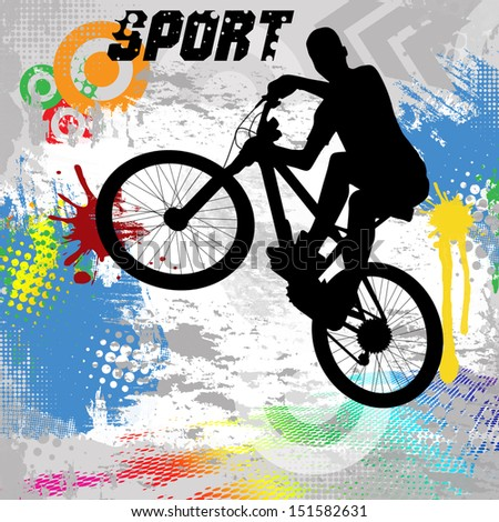 BMX cyclist on abstract grunge background, vector illustration - stock vector