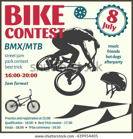 BMX event flyer with bicyclist in center helmet chain gear road text on white background vector illustration  - stock vector