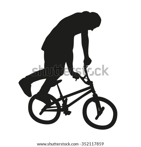 BMX freestyle bicycle rider. Vector silhouette