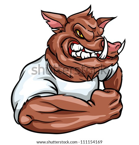 Boar mascot, team logo design, angry wild hog isolated - stock vector