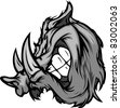 Boar Razorback Cartoon Face Illustration - stock vector