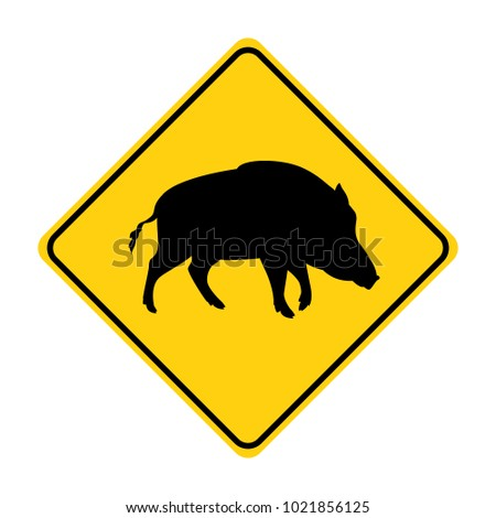 boar silhouette animal traffic sign yellow  vector illustration