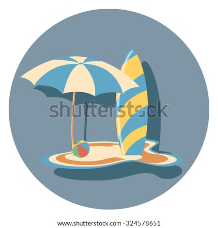 board and  umbrella flat icon in circle - stock vector
