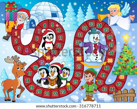 Board game image with Christmas theme 1 - eps10 vector illustration. - stock vector