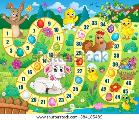 Board game image with Easter theme 1 - eps10 vector illustration.