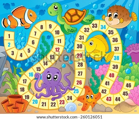 Board game image with underwater theme 1 - eps10 vector illustration. - stock vector