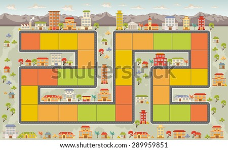 Board game with a block path on the city  - stock vector