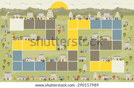Board game with a block path on the city with people  - stock vector
