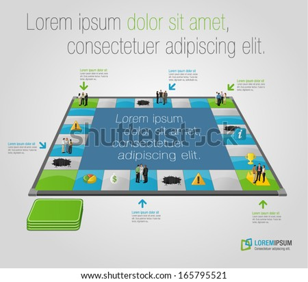 Board game with business people over path. - stock vector