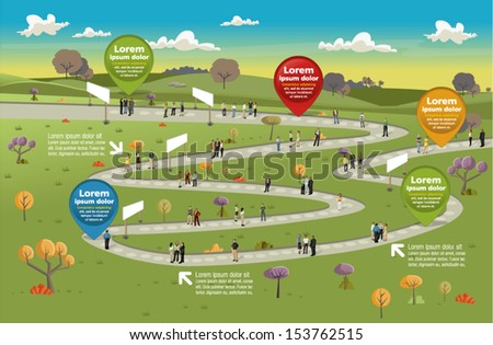 Board game with business people over path on the country with trees  - stock vector