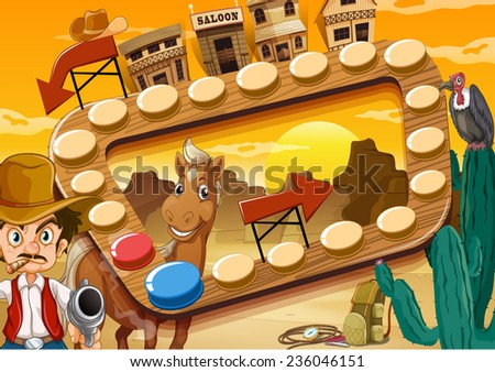 Board game with desert and cowboy theme - stock vector
