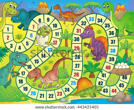 Board game with dinosaur theme 1 - eps10 vector illustration. - stock vector