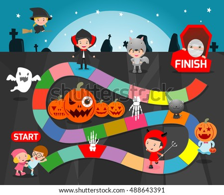 board game with halloweengames for kids child board game vector illustration