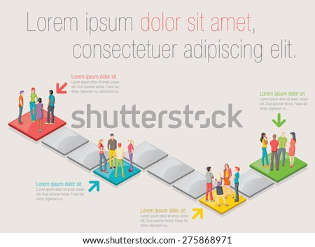 Board game with people over blocks  - stock vector
